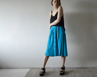 vintage bright cyan decorative front button full midi skirt medium large