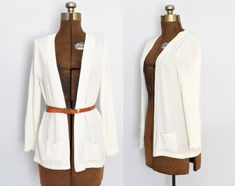1910s / 1920s Open Front Silk Jacket / Blazer with Pockets