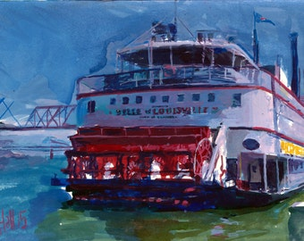 Belle of Louisville ink sketch