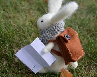 Fall Needle Felt Adventurous Rabbit,Handmade, Autumn,Bunny,Hare,Woodland,Critter,Needlefelt,Animal,Soft Sculpture,Fibre Art, OOAK, Miniature