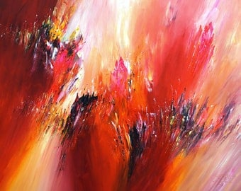 """Red, large abstract painting 61.0 """" x 41.3 """" Original XL Acrylic, contemporary art"""