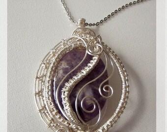 Agate necklace pendant wire wrap