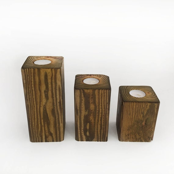 Set Of 3 Wooden Candle Holders Reclaimed Wood Tea Light