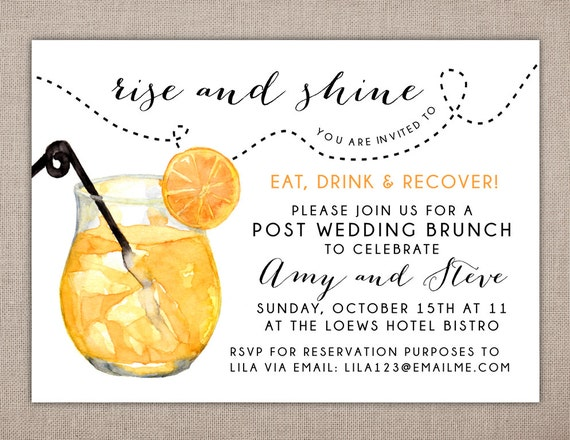 Post Wedding Brunch Invitation Wording: RISE AND SHINE Post Wedding Brunch Invitation Eat Drink And