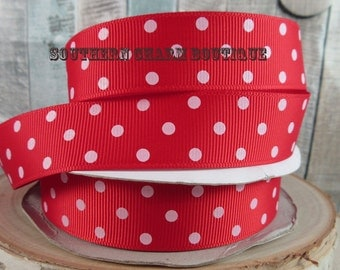 "3 yards of 7/8"" red/white polka dot grosgrain ribbon"