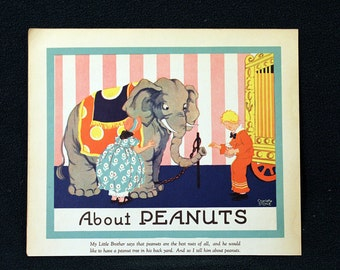 Charlotte Stone Color Illustration Lithograph entitled About Peanuts * Delightful 1935 Childrens Book Page Print Beautiful Full Color