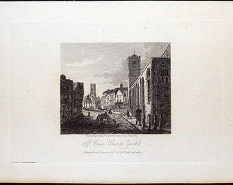 St. Crux Church, York, Yorkshire, England * 1817 Original Antique Copper Plate Engraved Print * Beautiful and Rare !