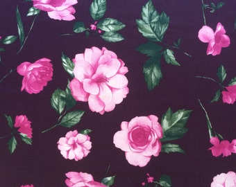 Cotton fabric Roses Floral Purple 100% cotton sateen - 150cm wide - Half metre