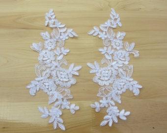 snow white cord lace appliques by pair,Lace applique,Wedding dress applique