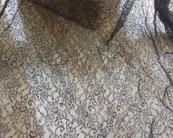 Good quality Black Lace Fabric by the Yard or Wholesale for wedding,shadow embroidery-LSMW017T