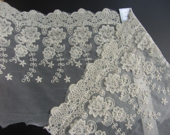 """embroidery ecru lace trim for skirt hemline,cotton lace fabric,8"""" width"""