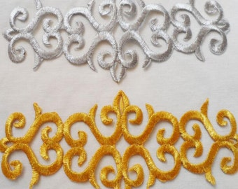 Metallic Gold Embroidery Patch ,Silver patch, Gold applique ,DIY patch,gold leaves applique --2pcs