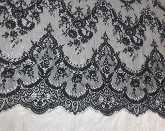 Chantilly lace fabric sold by yard,wedding Lace trim, 150cm Eyelash lace for lace dress-LSM3L006