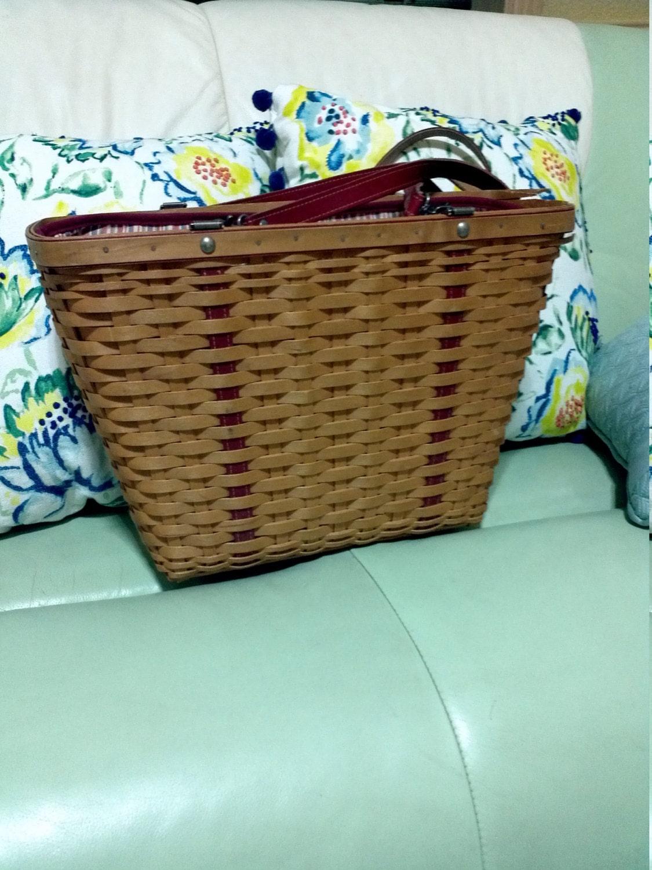 Handmade Longaberger Basket Liners : Longaberger large picnic basket shoulder bag handmade