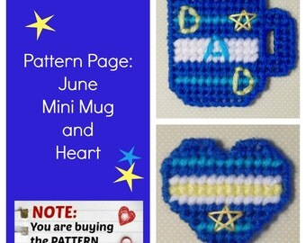 """Plastic Canvas Pattern Page: """"June Mini Mug and Heart"""" (2 designs, graphs and photos, no written instructions) ***PATTERN ONLY!***"""