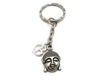 Buddha Keychain Initial Keychain Personalized Zen Keychain Customized Buddhist Keychain Letter  Buddha Keychain Zen Gift