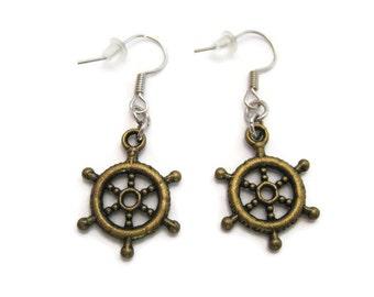 Helm Earrings Ships Helm Earrings Ship Wheel Earrings Helm Jewelry Nautical Jewelry Sailing Jewelry Sailing Earrings  Ship Jewlery