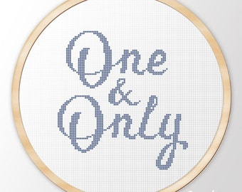 """Cross Stitch Pattern """"One and Only"""" Instant Download PDF"""