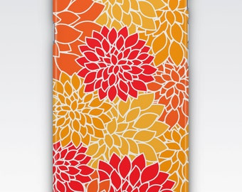 iPhone 6s Case, iPhone 6 Plus Case, iPhone 5s Case, iPhone SE Case, iPhone 5c Case, iPhone 7 case, Orange & Red Dahlia Patterned iPhone Case