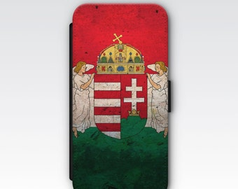 Wallet Case for iPhone 8 Plus, iPhone 8, iPhone 7 Plus, iPhone 7, iPhone 6, iPhone 6s, iPhone 5/5s -  Vintage Hungary Flag and Emblem Case