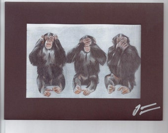Three wise monkeys handmade  pencil drawing print signed bespoke birthday greeting card