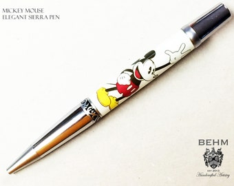 Ballpoint Pen - Handmade with Mickey Mouse Artwork - FREE Leather Pen Case!!