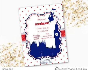 Mary Poppins Invitation, Polka Dot, London Invitation, Mary Poppins Birthday Party, Mary Poppins Baby Shower, London Birthday, London Shower