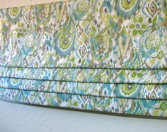 """Custom Order Faux Roman Shade/ Width to 50""""/ 20"""" Same Price/ Lined/ Stationary/ Paisley/ Kitchen/ Bath/ Bedroom/ Laundry/ Blue/ Grey"""