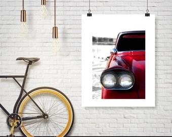 Photograph - Vintage Classic Red Chevy Car Headlight and Hood - Nursery  -  Fine Art Photography Print Wall Art Home Decor