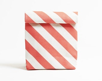 Kamibukuro/Stripe-Vermillion/paper bag shape multipurpose pouch, travel goods organizer