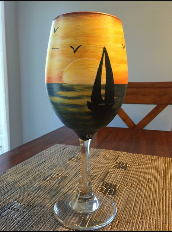 Hand-painted 20oz White Wine Glass