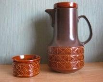 Vintage / Retro Beswick England Brown Coffee Pot and Sugar Bowl