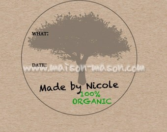 "Personalized Kitchen Labels - Custom Canning Labels - Organic Labels - Choose Your Own Color - 2"" & 2.5"" round stickers"