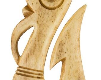 Antiqued Bone Maori Manaia Fish Hook Necklace 65mm