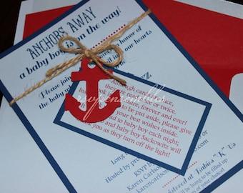 Nautical Themed Ahoy It's a Boy! 5x7 Baby Shower Invitation