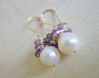 White pearls earrings/ amethyst earrings/ 14 kt gold earrings/wire wrapped earrings