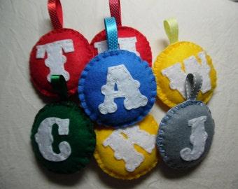 Initial Keyring, Felt Keyring, Personalised Keyring, Felt Bag Charm, Initial Bag Charm, Personalised Bag Charm, Rainbow, Childrens Keyring