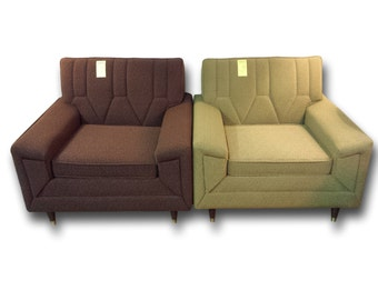 Mid Century Club Chairs - Pair of 1960s Flexsteel Club Chairs