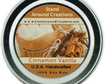 Premium 100% Soy Candle - 2oz Tin - Scent: Cinnamon Vanilla