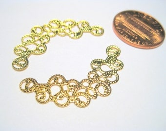 Gold Plated Filigree Metal Wrap Link Connectors 31mm Vintage Style Connector Charms