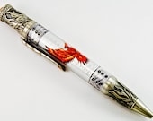 Unique and ornate engravings and embellishments. Phoenix Rising twist pen! Beautifully detailed pewter.