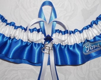 Ford Satin Wedding Bridal Garter Keepsake Prom Double Heart and Ford Logo