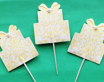 Wedding - Golden Lace Cupcake Toppers - Set of 12