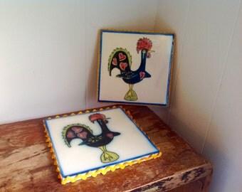 Vintage pair of rooster tile trivets coasters