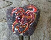 Rock'N'Ponies - RED ROCK 'N' ROAN - acrylic painting on rock 6 x 5 cm