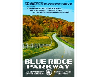 """Blue Ridge Parkway WPA-style poster. Color. 13"""" x 19""""  Original artwork, signed by the artist!"""