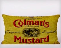 Colmans Mustard - Customizeable Personlized   -Cushion Fabric Panel Or Case or with Filling