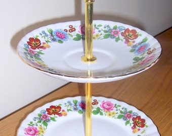 Royal Stafford China Floral Two Tier Biscuit / Cake / Trinket Stand