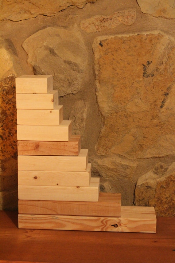 Unfinished stacking blocks unfinished wood block duo diy for Plain wooden blocks for crafts