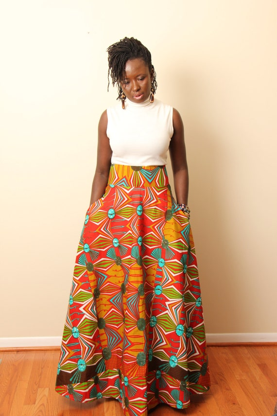 high waisted flare maxi skirt in print